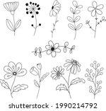 botanic and flower hand drawn...   Shutterstock .eps vector #1990214792