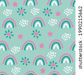 seamless boho pattern with... | Shutterstock .eps vector #1990215662