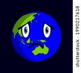 sad globe character vector...   Shutterstock .eps vector #1990217618