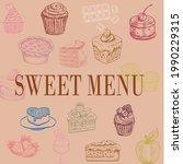 vector of sweet menu on pink...   Shutterstock .eps vector #1990229315