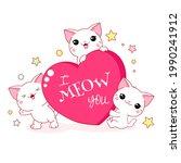 cute valentine card in kawaii...   Shutterstock .eps vector #1990241912