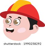 cute kid face. cute and...   Shutterstock .eps vector #1990258292