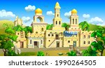 an arab town with stone houses  ...   Shutterstock .eps vector #1990264505