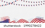 usa 4th of july waving flag...   Shutterstock .eps vector #1990278422