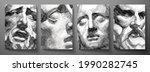 engraved antique face   poster. ... | Shutterstock .eps vector #1990282745