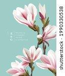 natural vintage magnolia... | Shutterstock .eps vector #1990330538