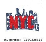 new york lettering handwritten...   Shutterstock .eps vector #1990335818