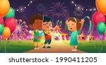 kids in amusement park with...   Shutterstock .eps vector #1990411205