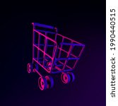 neon icon shopping cart on...