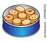 A selection of danish butter cookies in a blue tin.