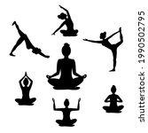 beautiful woman doing yoga... | Shutterstock .eps vector #1990502795
