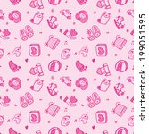 seamless doodle baby pattern... | Shutterstock .eps vector #199051595