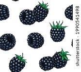 seamless pattern blackberry...   Shutterstock . vector #1990541498