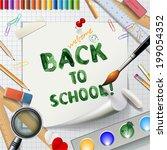 welcome back to school... | Shutterstock .eps vector #199054352