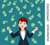 woman money rain. happy womans... | Shutterstock .eps vector #1990552442