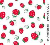 strawberry seamless vector...   Shutterstock .eps vector #1990557278