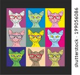 Bald Cat Hipster Glasses In Th...