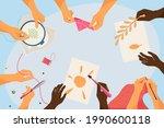 top view of hands doing... | Shutterstock .eps vector #1990600118