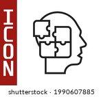 black line human head puzzles...   Shutterstock .eps vector #1990607885
