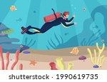 sea scuba diving. man swims...   Shutterstock .eps vector #1990619735