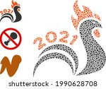 mosaic 2021 rooster tail icon...   Shutterstock .eps vector #1990628708
