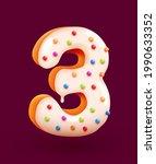 glazed donut font. number 3.... | Shutterstock .eps vector #1990633352