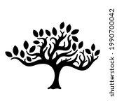 black tree isolated on white... | Shutterstock .eps vector #1990700042