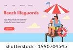 beach lifeguards website...   Shutterstock .eps vector #1990704545