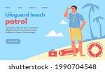 lifeguard beach patrol website...   Shutterstock .eps vector #1990704548