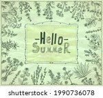 hello summer card template with ...   Shutterstock .eps vector #1990736078