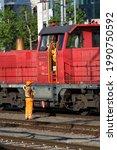 Red Diesel Shunting Locomotive...