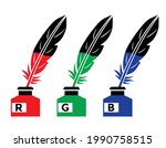 quill pen  feather  inkwell ...   Shutterstock .eps vector #1990758515