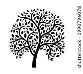 black tree on white background. ... | Shutterstock .eps vector #1990796078