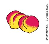 two ripe peaches. vector doodle ...   Shutterstock .eps vector #1990815608