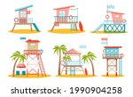 Set Of Lifeguard Station Towers ...