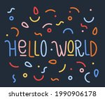 colorful poster with hand drawn ... | Shutterstock .eps vector #1990906178