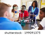 pupils carrying out experiment... | Shutterstock . vector #199091375