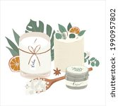 scented candles with green... | Shutterstock .eps vector #1990957802