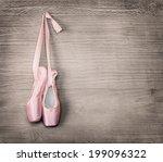 new pink ballet shoes hanging... | Shutterstock . vector #199096322