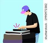 beatmaker makes beats  vector...   Shutterstock .eps vector #1990972382