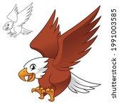 Cute Happy Eagle Falcon Hawk...