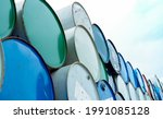 Old Chemical Barrels. Blue And...