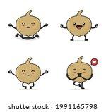 jicama fruit cartoon. with yoga ...   Shutterstock .eps vector #1991165798