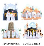 set bundle of muslim couple is...   Shutterstock .eps vector #1991175815