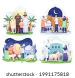 set bundle of happy muslim...   Shutterstock .eps vector #1991175818