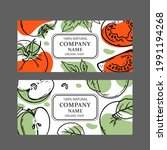 tomato green apple labels...   Shutterstock .eps vector #1991194268