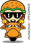 burger mascot character cartoon ...   Shutterstock .eps vector #1991239025