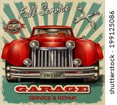 vintage garage retro poster | Shutterstock .eps vector #199125086