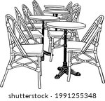 table and chairs restaurant... | Shutterstock .eps vector #1991255348