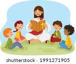 jesus christ reading the bible...   Shutterstock .eps vector #1991271905